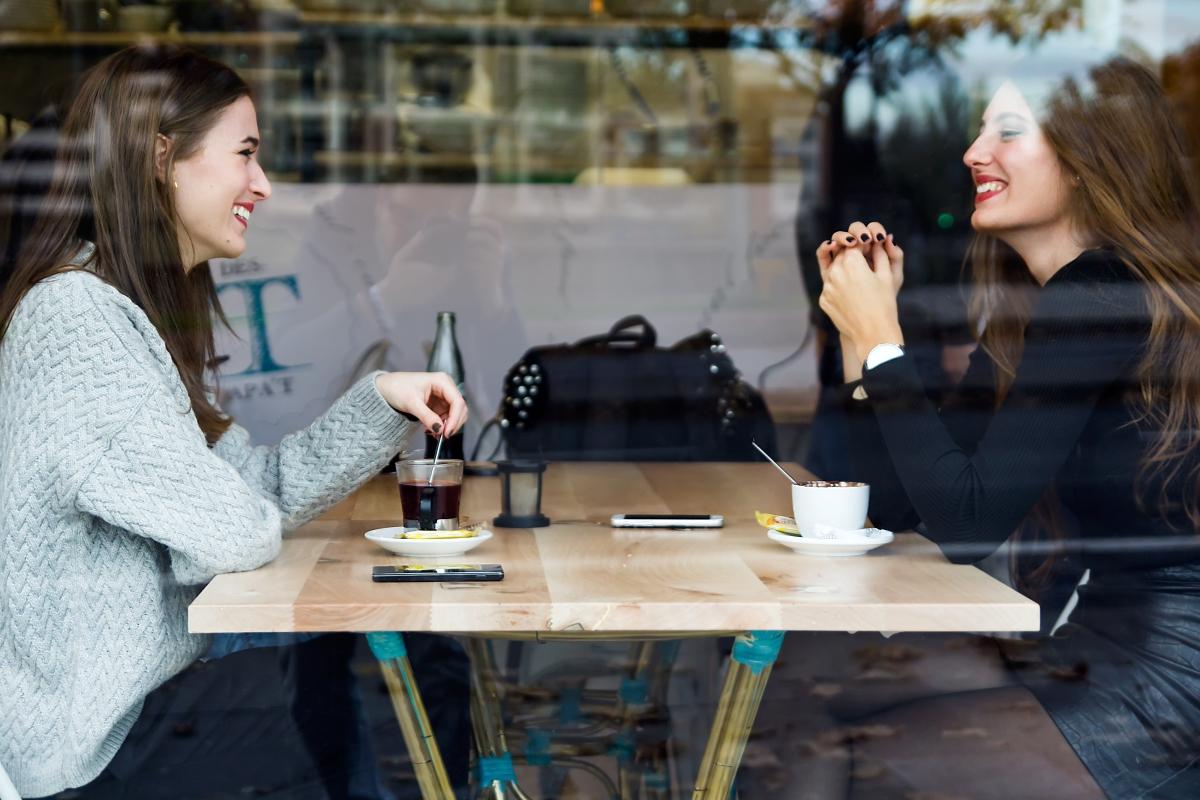 Beautiful young women drinking tea in a coffee shop.